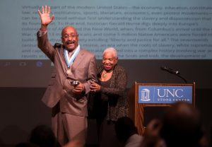 Colin A. Palmer (left), with history professor Genna Rae McNeil, was honored with the Award for Scholarly Distinction during the 14th annual African-American History Month Lecture. (photo by Jon Gardiner)
